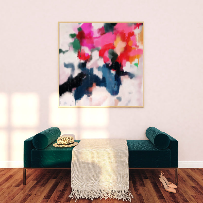 "Essi, print on canvas- 54""x54"" - abstract art by Parima Studio - Green bench entryway"