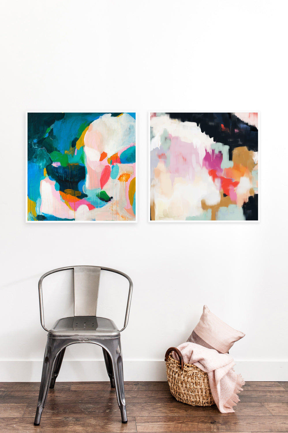 Felicity and Ruthie, abstract art prints. Set of two art prints via Parima Studio. Entryway decor, living room decor ideas, gallery wall ideas