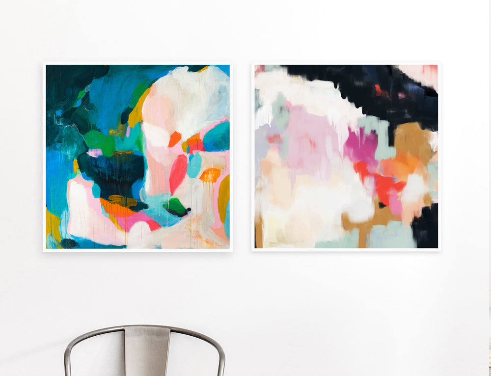 Felicity and Ruthie, abstract art prints. Set of two art prints via Parima Studio