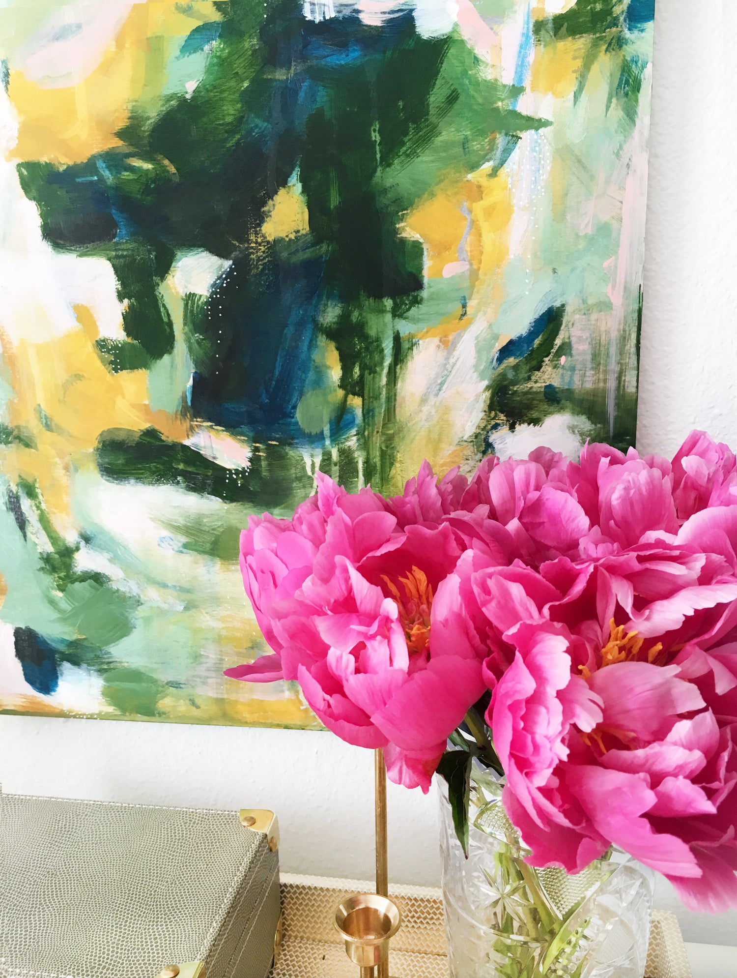 Fuana, abstract painting by Patricia Vargas #peonies #art