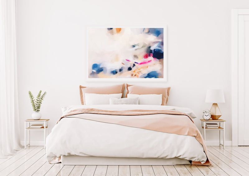 Gabrielle, pink and blue large abstract art print by Parima Studio - in bedroom. Art for over the bed.