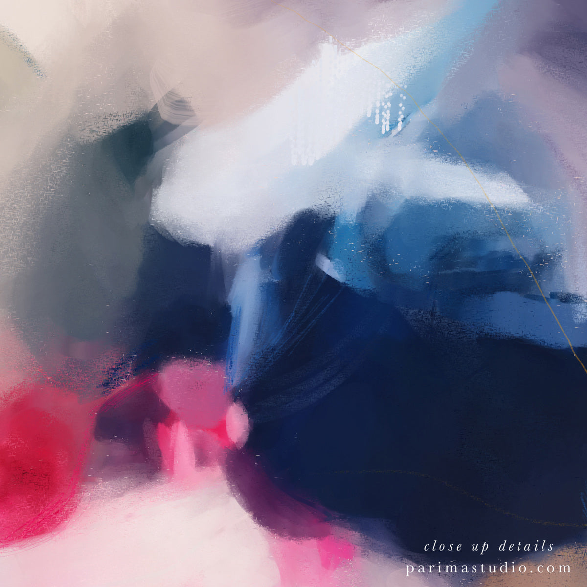 Close up of Gabrielle, pink and blue large abstract art print by Parima Studio