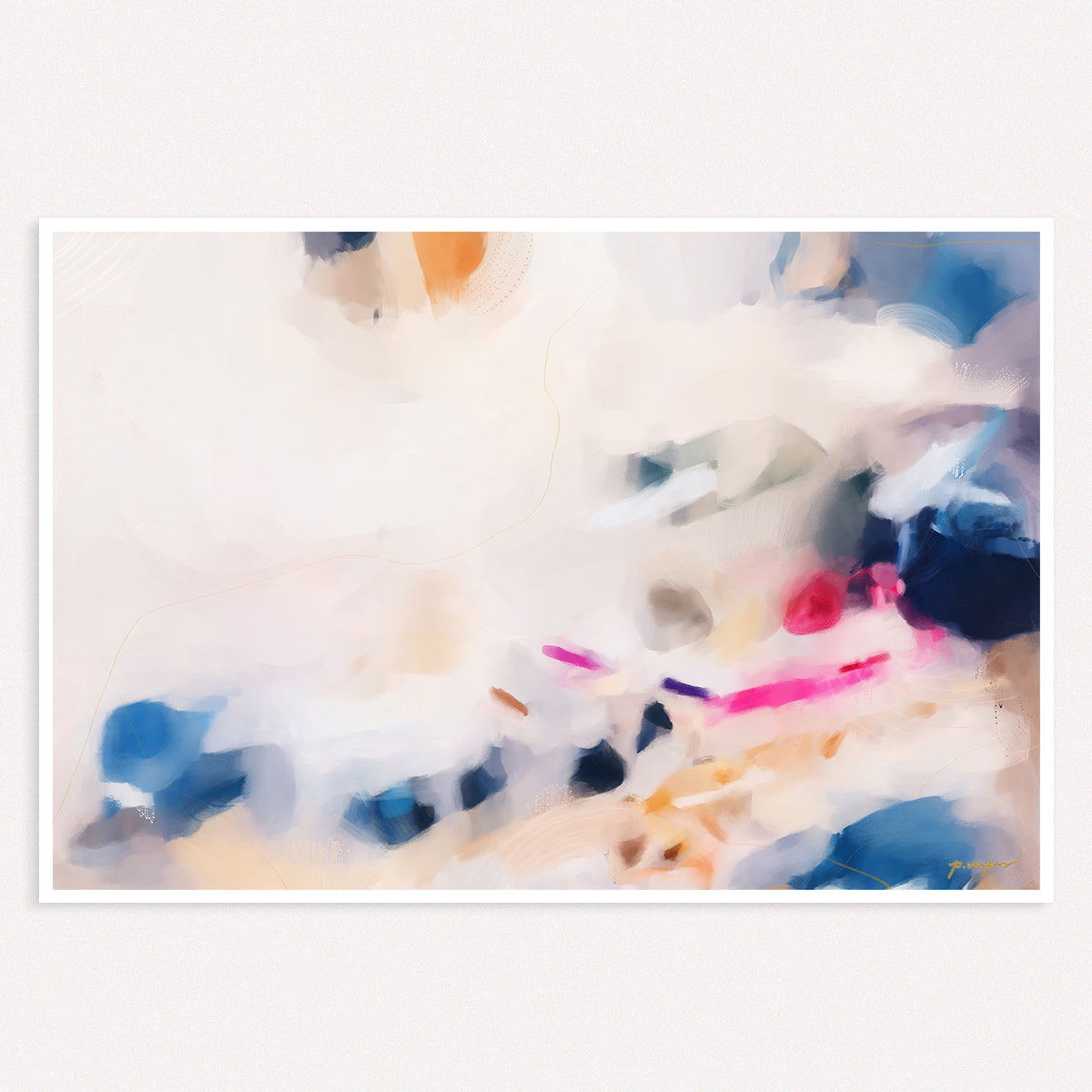 Gabrielle, pink and blue large abstract art print by Parima Studio