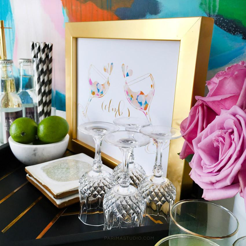 "Celebrate art print perfect for a bar cart .""Clink"" by Parima Studio"