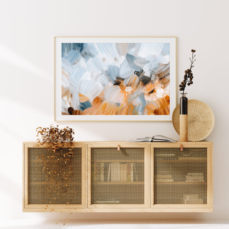 Grasslands, abstract art print by Parima Studio - entryway over credenza