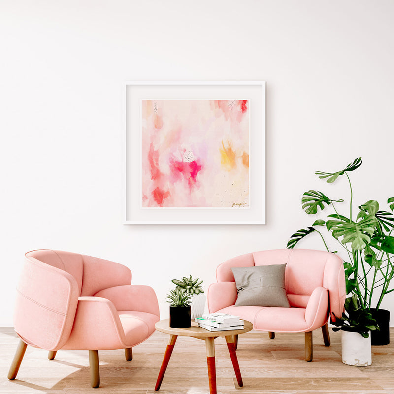 In Pink, large abstract art print by Parima Studio - Square wall art in living room