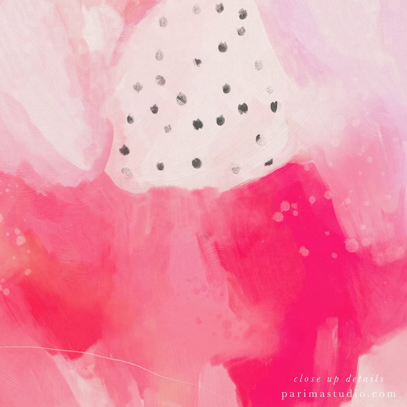 Close up of In Pink, large abstract art print by Parima Studio - Square wall art