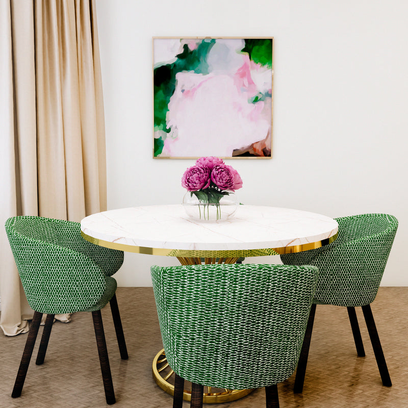 Jolie, large square pink and green abstract art print by Parima Studio. Styled in dinning room.
