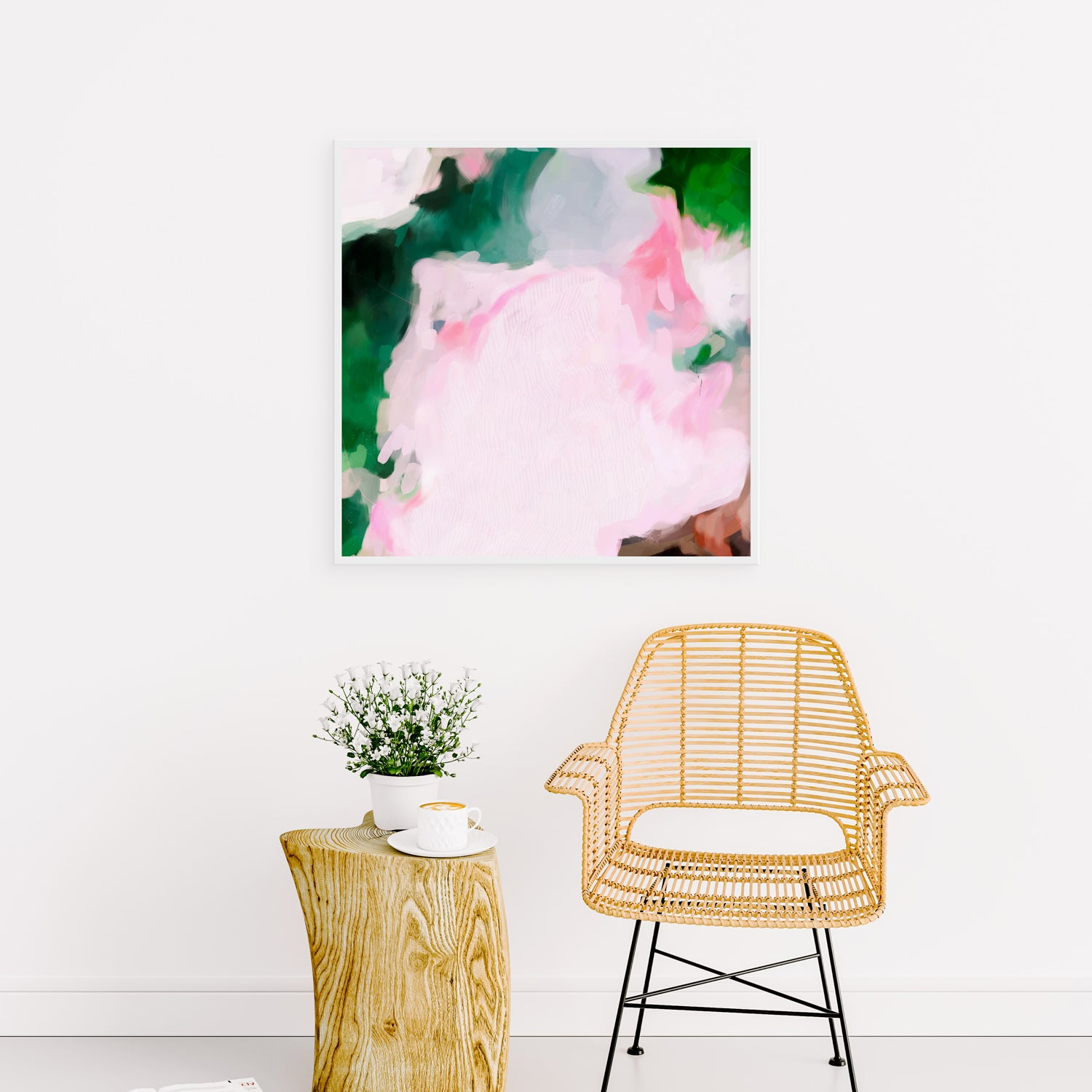 Jolie, large square pink and green abstract art print by Parima Studio