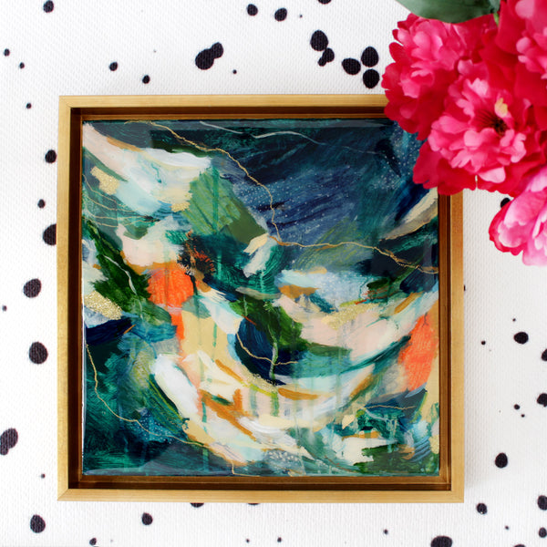 """lily"" abstract painting by Parima Studio #art, acrylic on cradled wood panel and encased in resin"