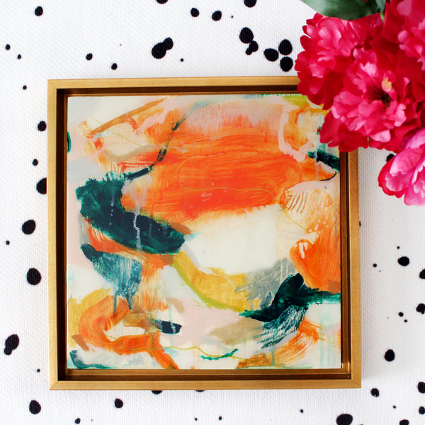 Marianna abstract painting by Parima Studio #art, acrylic paint and oil pastel on cradled wood panel framed in a gold wood frame and encased with resin.