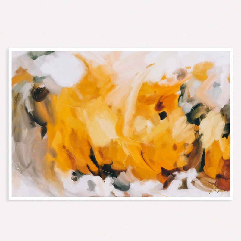 New Beginnings- large yellow abstract art print - wall art for over the couch - Parima Studio
