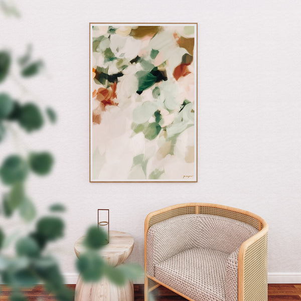 Dionne, greeb abstract art print, earthy muted green wall art by Parima Studio in living room, sitting room, bedroom wall art