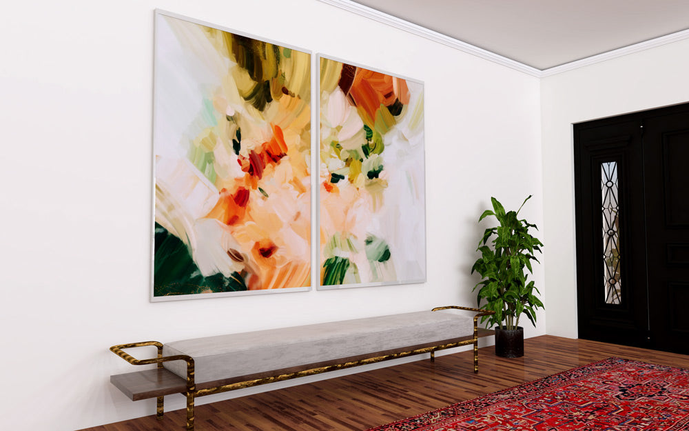 Extra large abstract art prints. La Plaza, set of two abstract art prints by Parima Studio - Diptych art in entryway over a bench