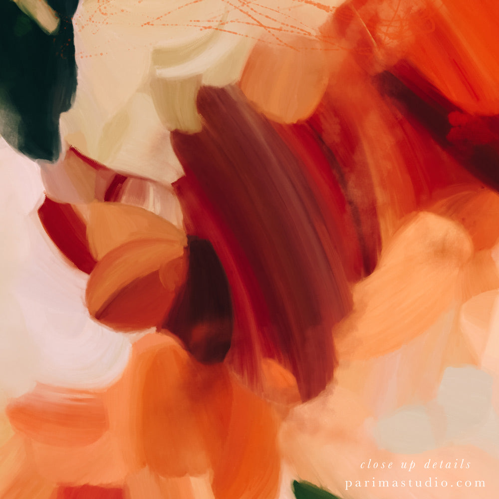 Close up details of Extra large abstract art prints. La Plaza, set of two abstract art prints by Parima Studio -