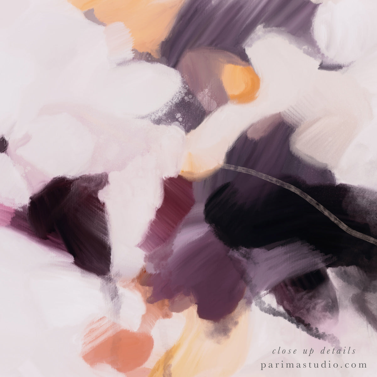 Close up of Plumas, large abstract art print by Parima Studio- purple art