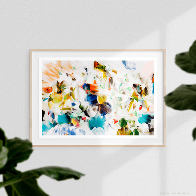 Primavera, abstract art print by Parima Studio - frame with floating mount
