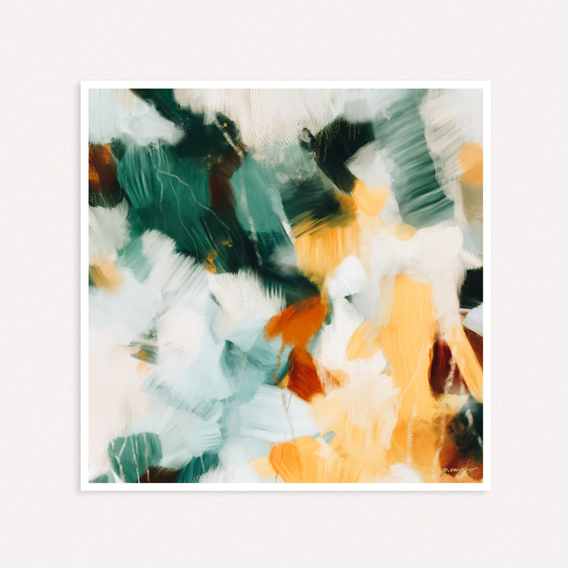 Reverie, large square abstract art print by Parima Studio - neutral