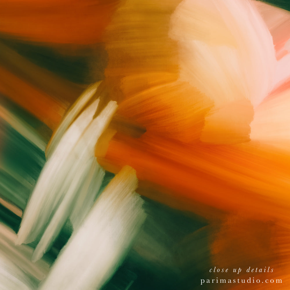 Close up details of Sparks, square abstract art print by Parima Studio. Orange, pink, and green art.