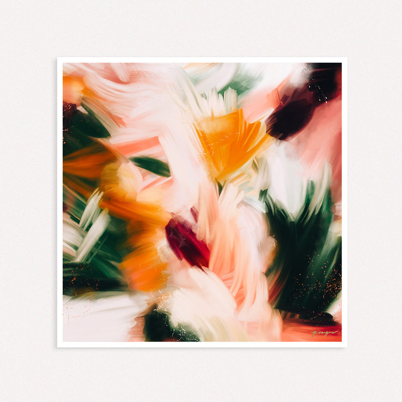 Sparks, square abstract art print by Parima Studio. Orange, pink, and green art.