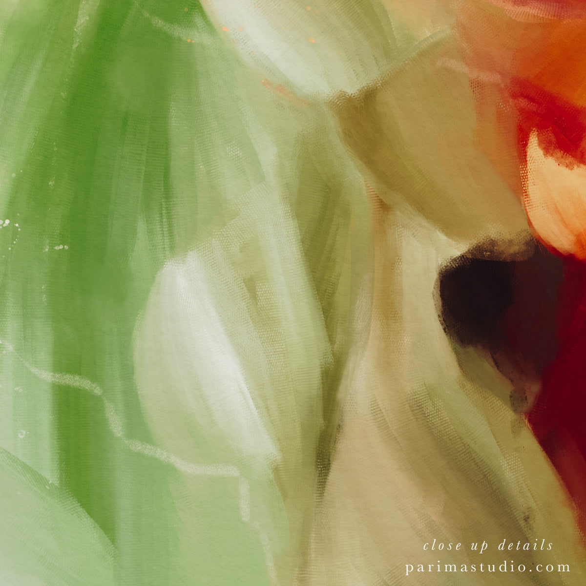 Close up of Zinnia, earthy abstract art print by Parima Studio