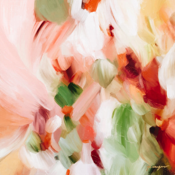 Zinnia, earthy abstract art print by Parima Studio