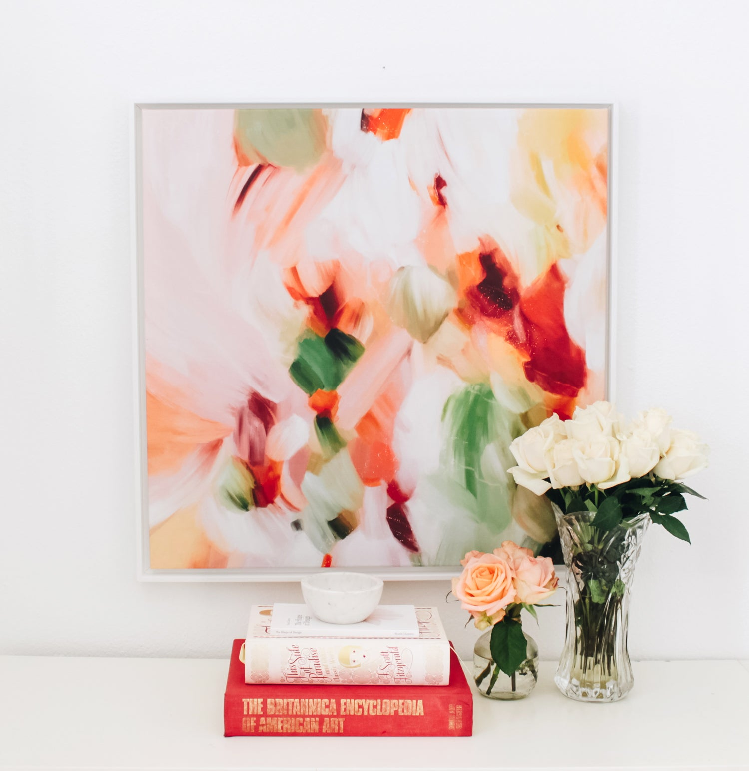 Close up of Zinnia, earthy abstract art print by Parima Studio- styled in living room. Canvas print