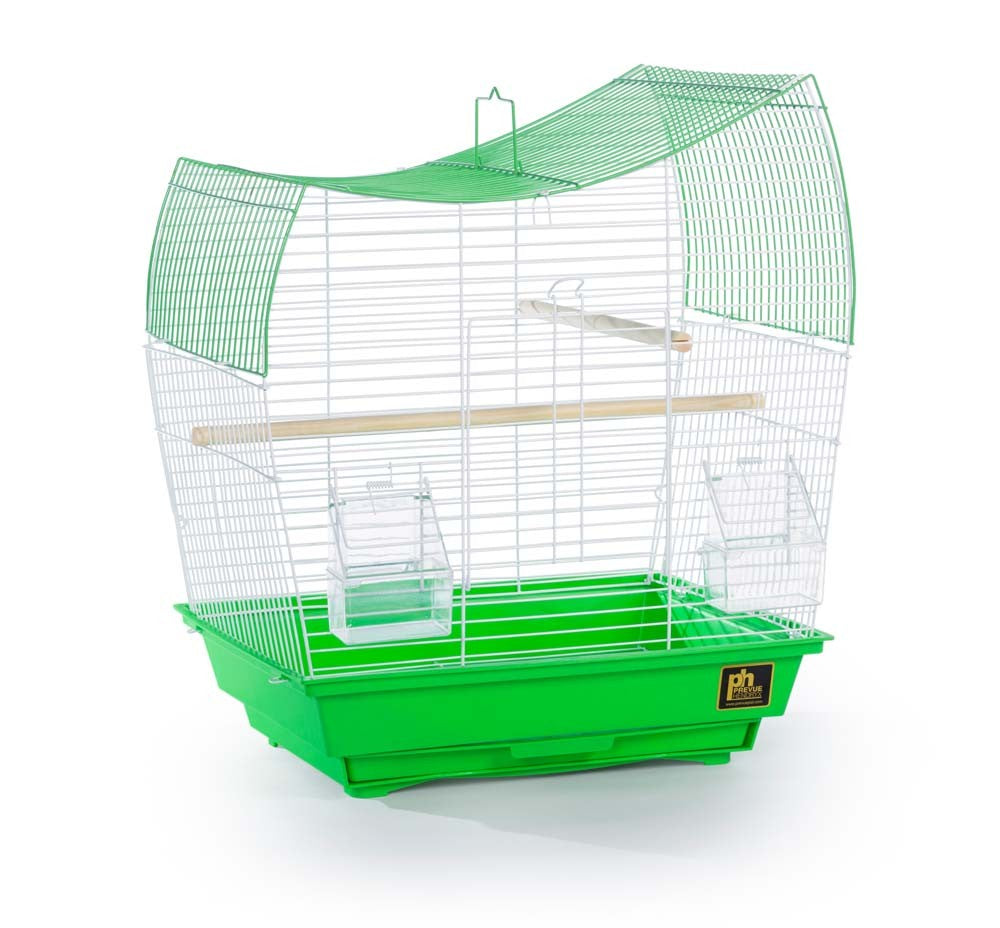 Southbeach Parakeet Cage Wave Top Green and White 15 3/8 x 10 3/8 x 17 5/8