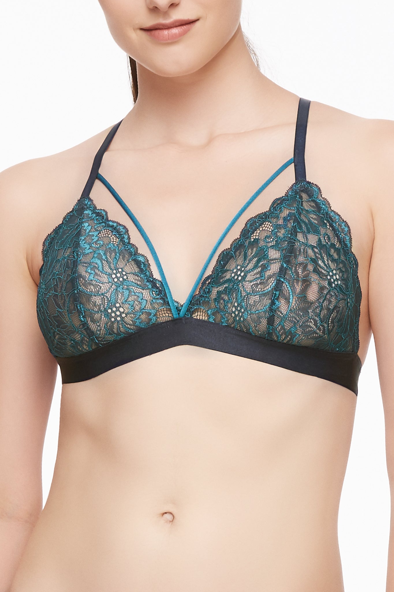 Stone/ Oceanview Cross Dye Strappy Bralette