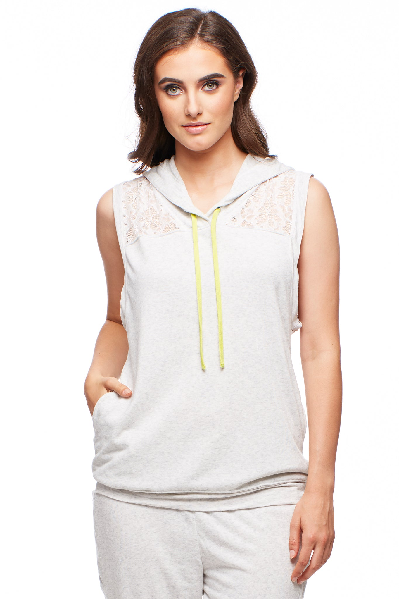 Sleeveless Hoodie with Allover Lace Insert