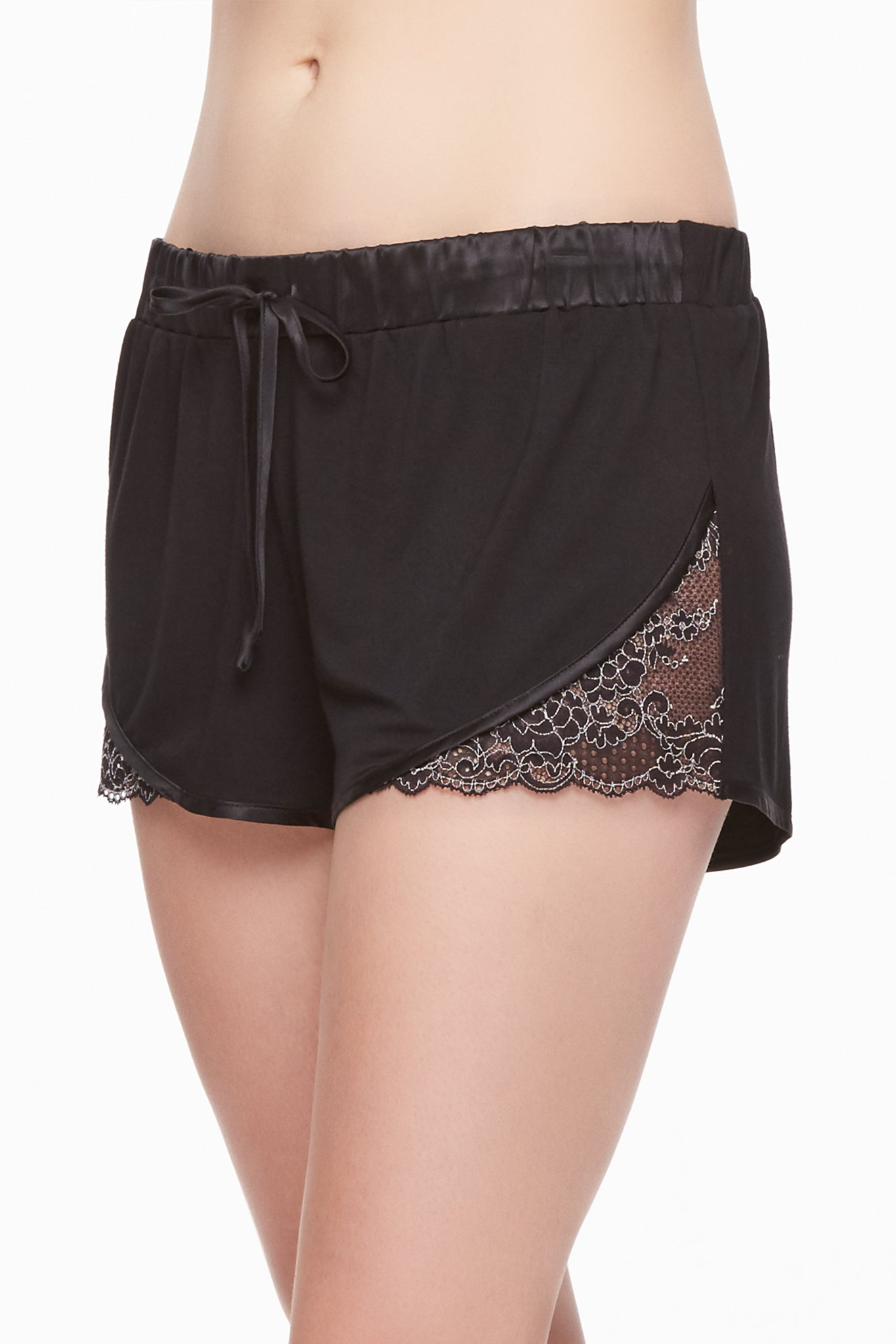 Winter Escapes Short with Lace Insert and Silk trim