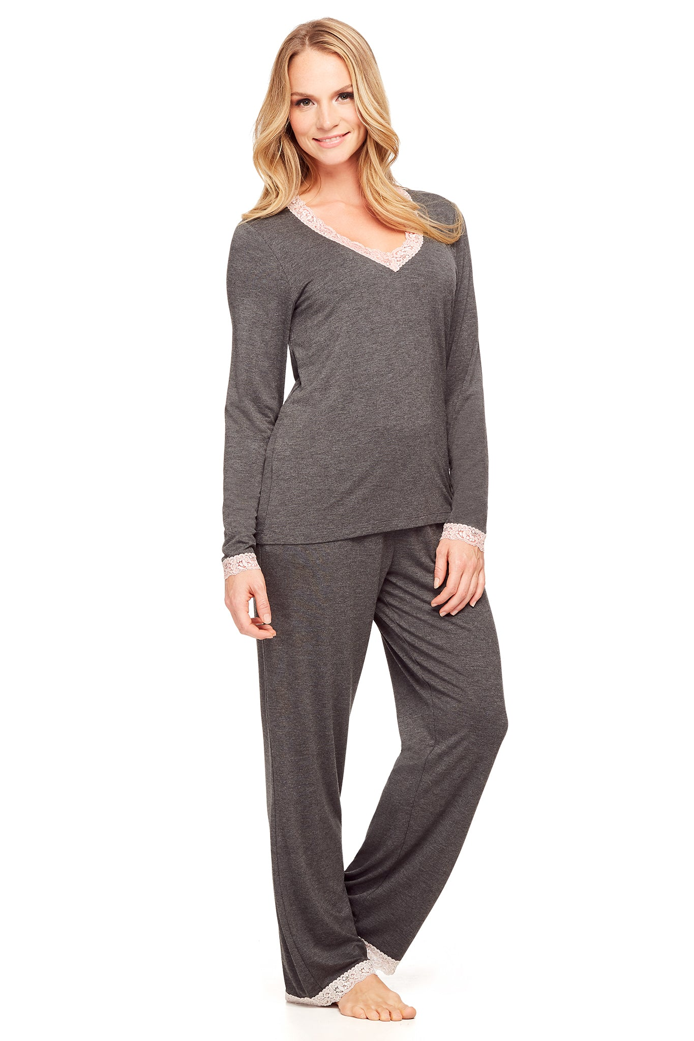 Long Sleeve PJ Set with Modern Pant