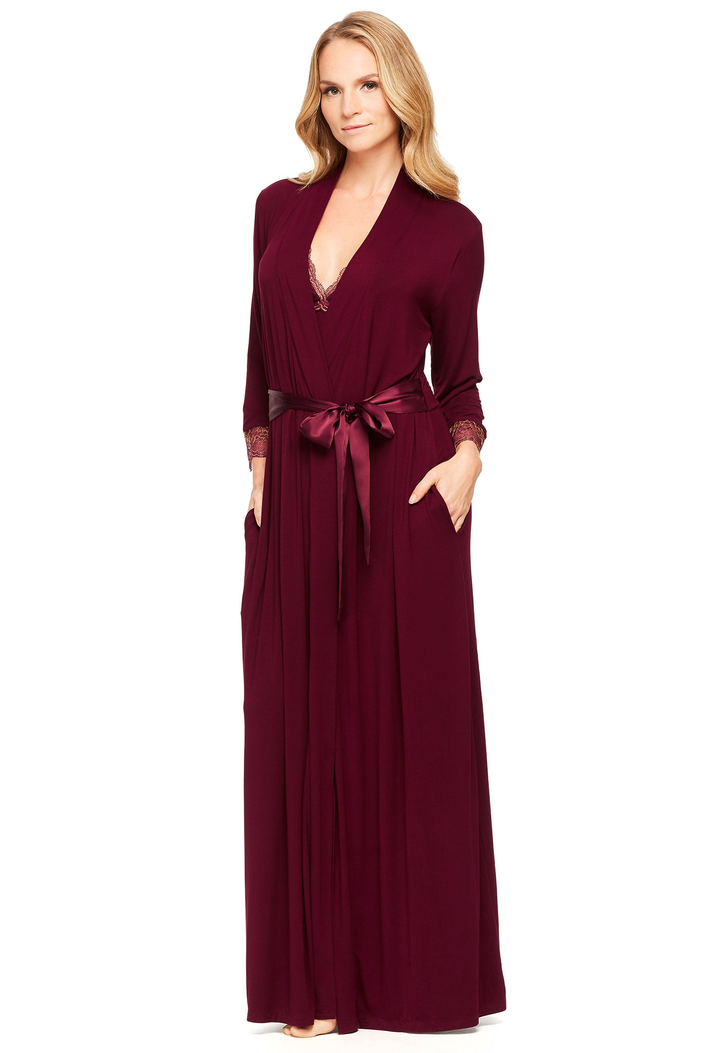 Modern Elegance Long Robe with 3/4 Sleeves and Lace Hem