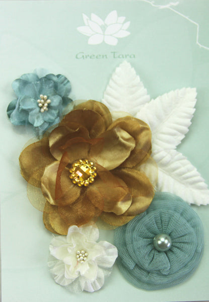 Fabric Flowers 'Beach Days' Pack - Shop and Crop Scrapbooking