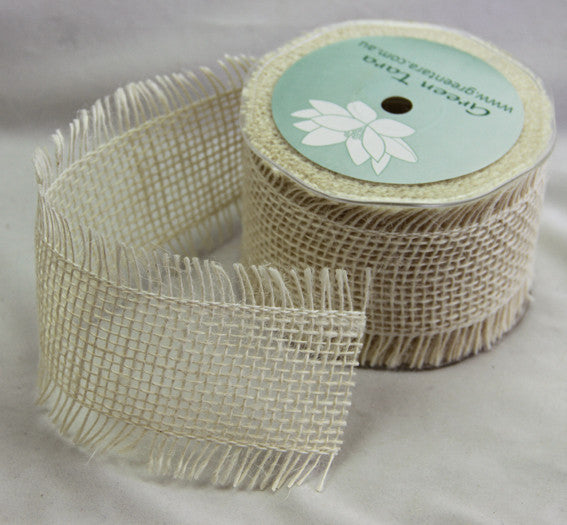 Burlap Ribbon 65mm, Ivory - Shop and Crop Scrapbooking