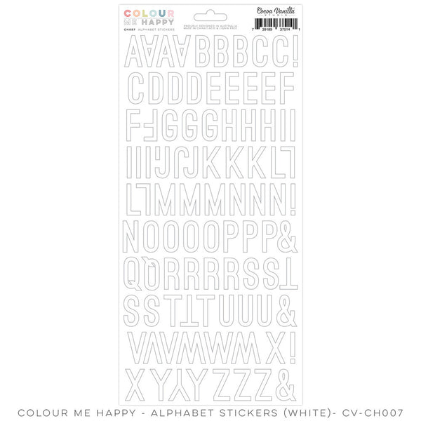 "Colour Me Happy ""Alphabet Stickers – White"" - Shop and Crop Scrapbooking"