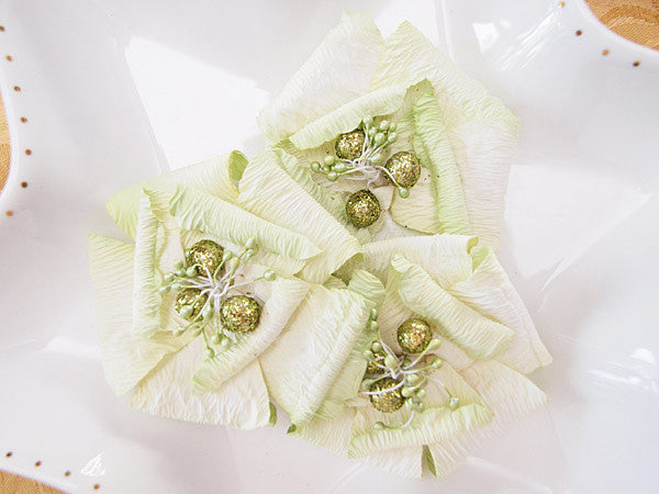 Green Shimmer Flowers (3) - Shop and Crop Scrapbooking