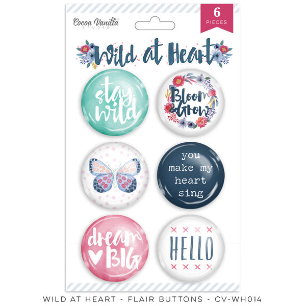 Cocoa Vanilla Studio-Wild At Heart – Flair Buttons - Shop and Crop Scrapbooking