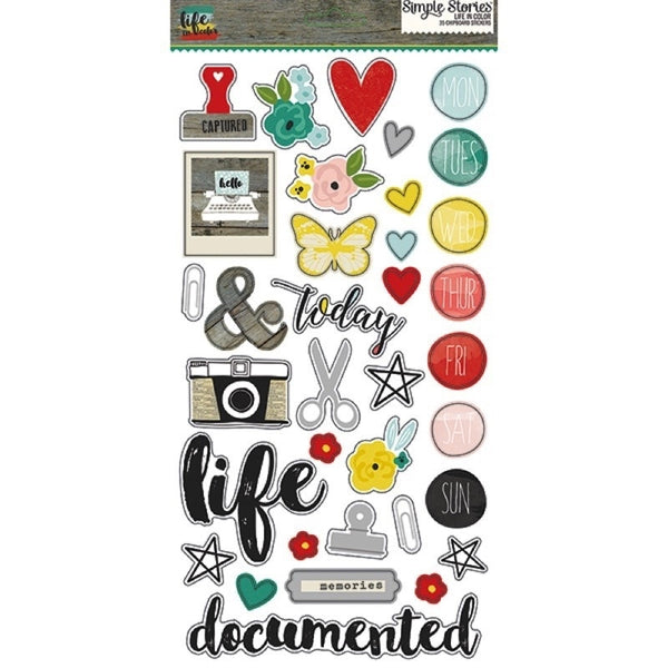 Life In Colour - Chipboard Stickers - Shop and Crop Scrapbooking