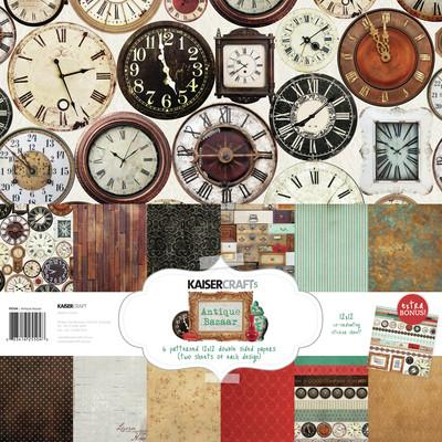 Antique Bazaar Paper Pack with Bonus Sticker sheet - Shop and Crop Scrapbooking