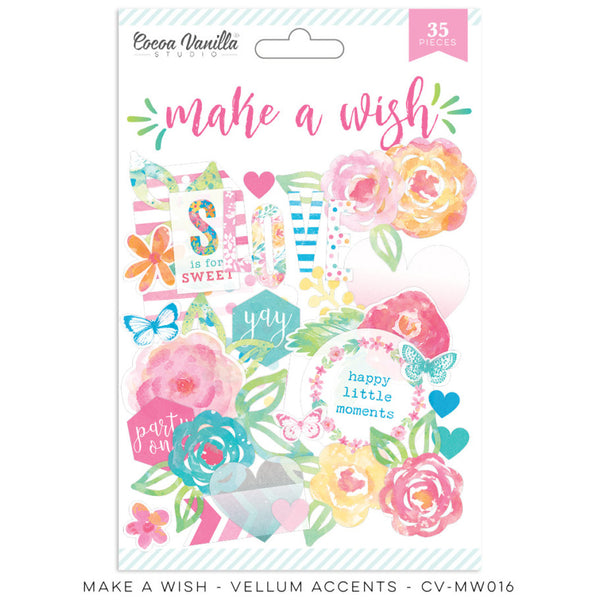 Cocoa Vanilla Studio Make A Wish VELLUM ACCENTS - Shop and Crop Scrapbooking