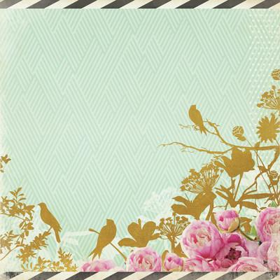 All That Glitters 12x12 Specialty Paper - Golden Flowers - Shop and Crop Scrapbooking