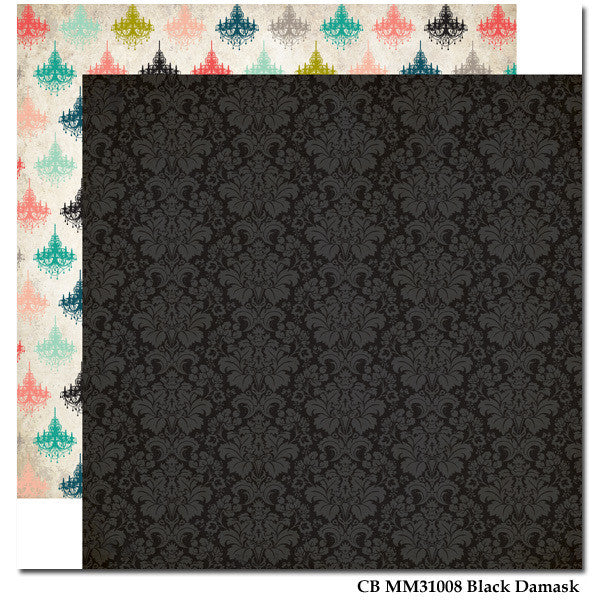 Carta Bella Black Damask Paper - Shop and Crop Scrapbooking