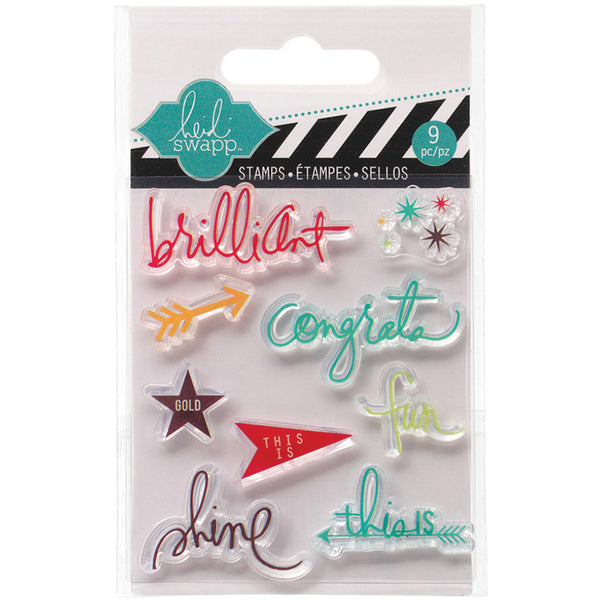 Heidi Swapp Mixed Media Clear Mini Stamps - Brilliant - Shop and Crop Scrapbooking