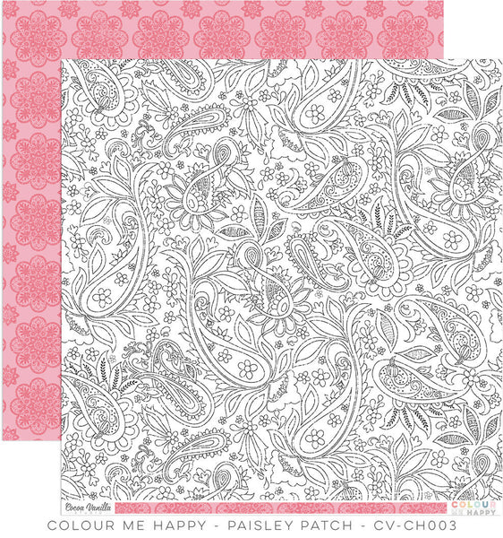 "Colour Me Happy ""Paisley Patch"" Double-Sided 12″x12″ designer paper - Shop and Crop Scrapbooking"