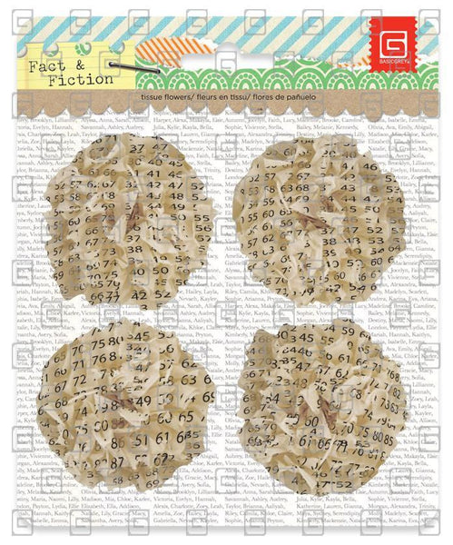 Facts & Fiction - Printed Tissue Flowers - Shop and Crop Scrapbooking
