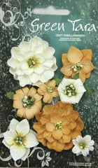 OCHRE   Fantasy Blooms - Pack of 8 Co-ordinated Flowers