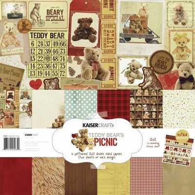 Teddy Bears Picnic Paper Pack with Bonus Sticker sheet - Shop and Crop Scrapbooking