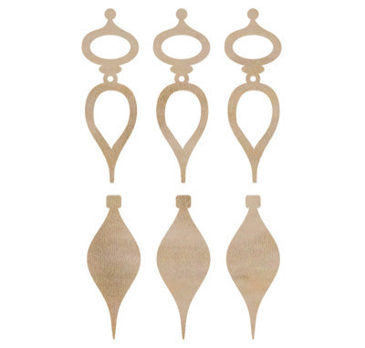 Mini Tear Drop Bauble Wood Flourishes FL448 - Shop and Crop Scrapbooking
