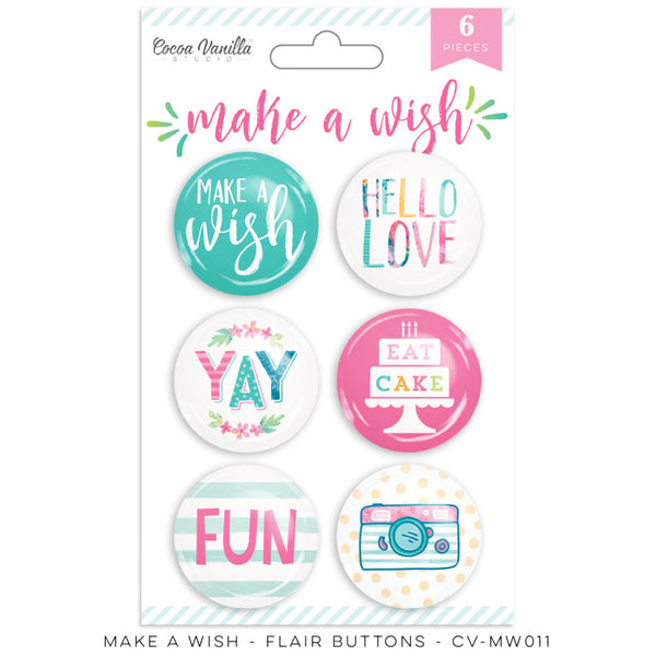 Cocoa Vanilla Studio Make A Wish  FLAIR BUTTONS - Shop and Crop Scrapbooking